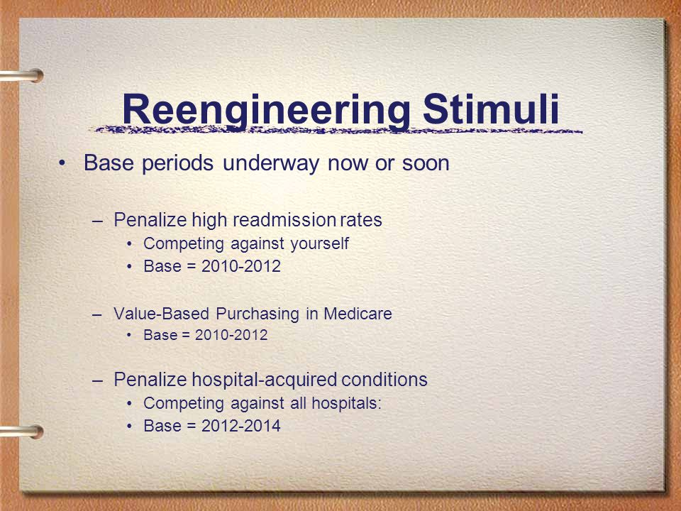 Reengineering Stimuli Base periods underway now or soon –Penalize high readmission rates Competing against yourself Base = 2010-2012 –Value-Based Purchasing in Medicare Base = 2010-2012 –Penalize hospital-acquired conditions Competing against all hospitals: Base = 2012-2014