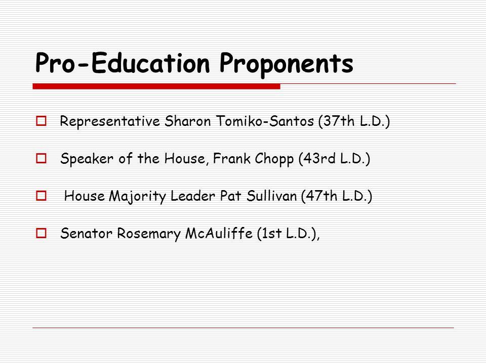 Pro-Education Proponents  Representative Sharon Tomiko-Santos (37th L.D.)  Speaker of the House, Frank Chopp (43rd L.D.)  House Majority Leader Pat Sullivan (47th L.D.)  Senator Rosemary McAuliffe (1st L.D.),