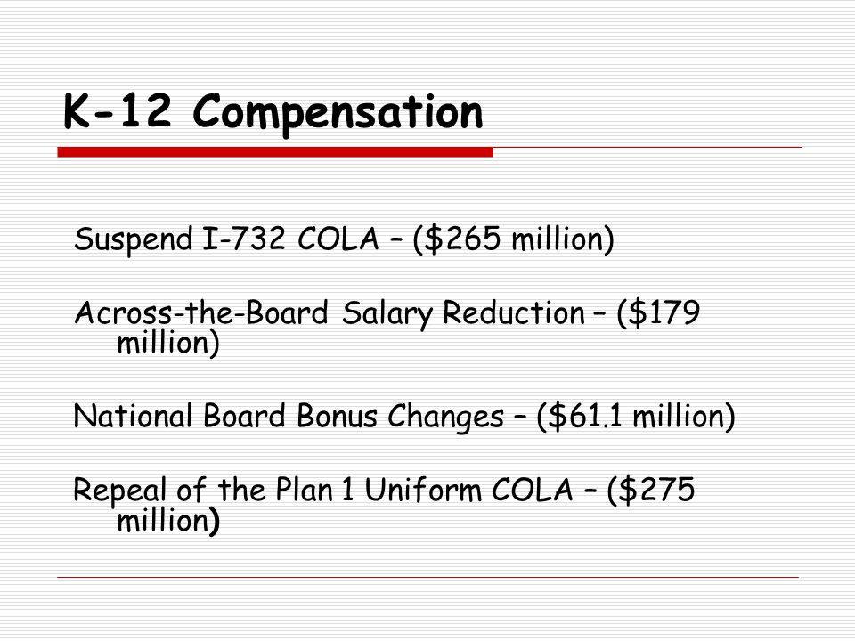 K-12 Compensation Suspend I-732 COLA – ($265 million) Across-the-Board Salary Reduction – ($179 million) National Board Bonus Changes – ($61.1 million) Repeal of the Plan 1 Uniform COLA – ($275 million)