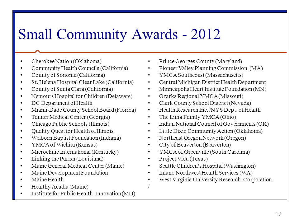 Small Community Awards - 2012 Cherokee Nation (Oklahoma) Community Health Councils (California) County of Sonoma (California) St.