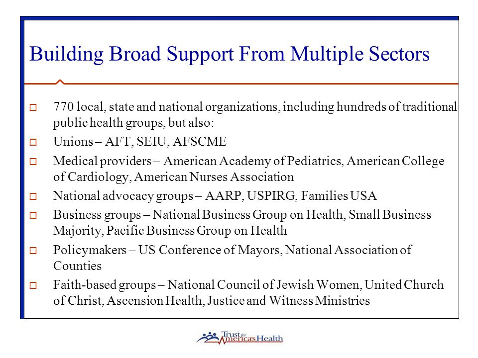 Building Broad Support From Multiple Sectors  770 local, state and national organizations, including hundreds of traditional public health groups, but also:  Unions – AFT, SEIU, AFSCME  Medical providers – American Academy of Pediatrics, American College of Cardiology, American Nurses Association  National advocacy groups – AARP, USPIRG, Families USA  Business groups – National Business Group on Health, Small Business Majority, Pacific Business Group on Health  Policymakers – US Conference of Mayors, National Association of Counties  Faith-based groups – National Council of Jewish Women, United Church of Christ, Ascension Health, Justice and Witness Ministries