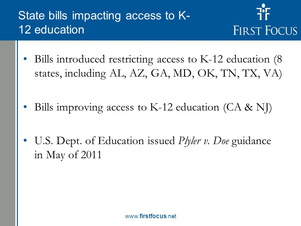 Children in the Budget: State bills impacting access to K- 12 education Bills introduced restricting access to K-12 education (8 states, including AL, AZ, GA, MD, OK, TN, TX, VA) Bills improving access to K-12 education (CA & NJ) U.S.