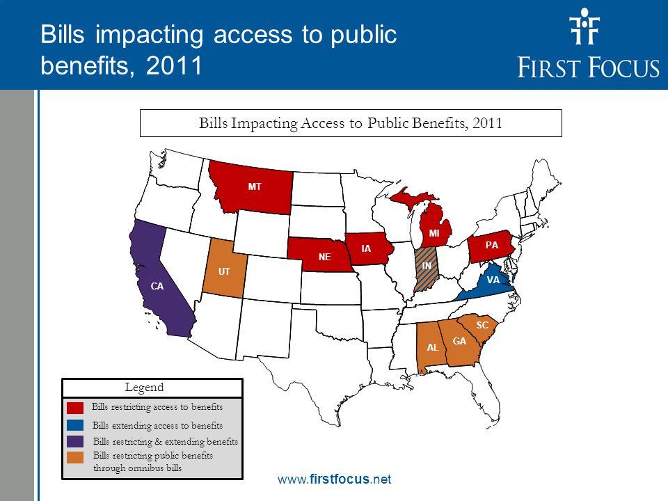 Children in the Budget: Bills impacting access to public benefits, 2011 www.firstfocus.net Bills extending access to benefits Bills restricting access