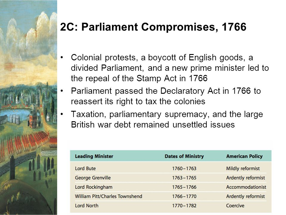 2C: Parliament Compromises, 1766 Colonial protests, a boycott of English goods, a divided Parliament, and a new prime minister led to the repeal of th