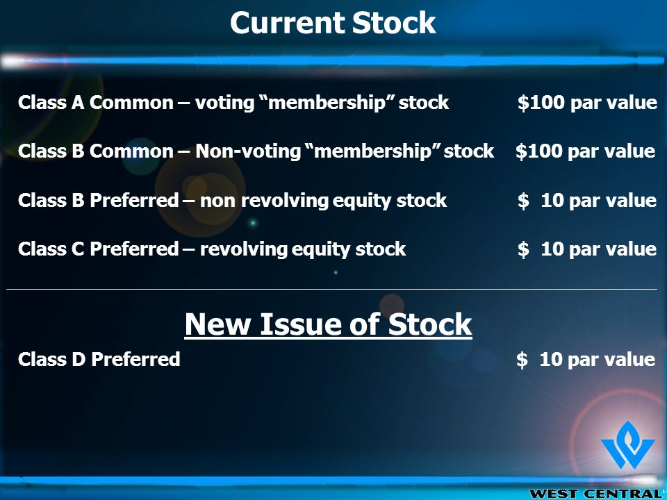 Current Stock Class A Common – voting membership stock $100 par value Class B Common – Non-voting membership stock $100 par value Class B Preferred – non revolving equity stock $ 10 par value Class C Preferred – revolving equity stock $ 10 par value Class D Preferred $ 10 par value New Issue of Stock