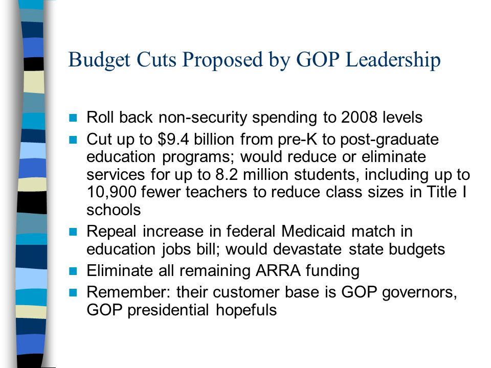 Budget Cuts Proposed by GOP Leadership Roll back non-security spending to 2008 levels Cut up to $9.4 billion from pre-K to post-graduate education programs; would reduce or eliminate services for up to 8.2 million students, including up to 10,900 fewer teachers to reduce class sizes in Title I schools Repeal increase in federal Medicaid match in education jobs bill; would devastate state budgets Eliminate all remaining ARRA funding Remember: their customer base is GOP governors, GOP presidential hopefuls
