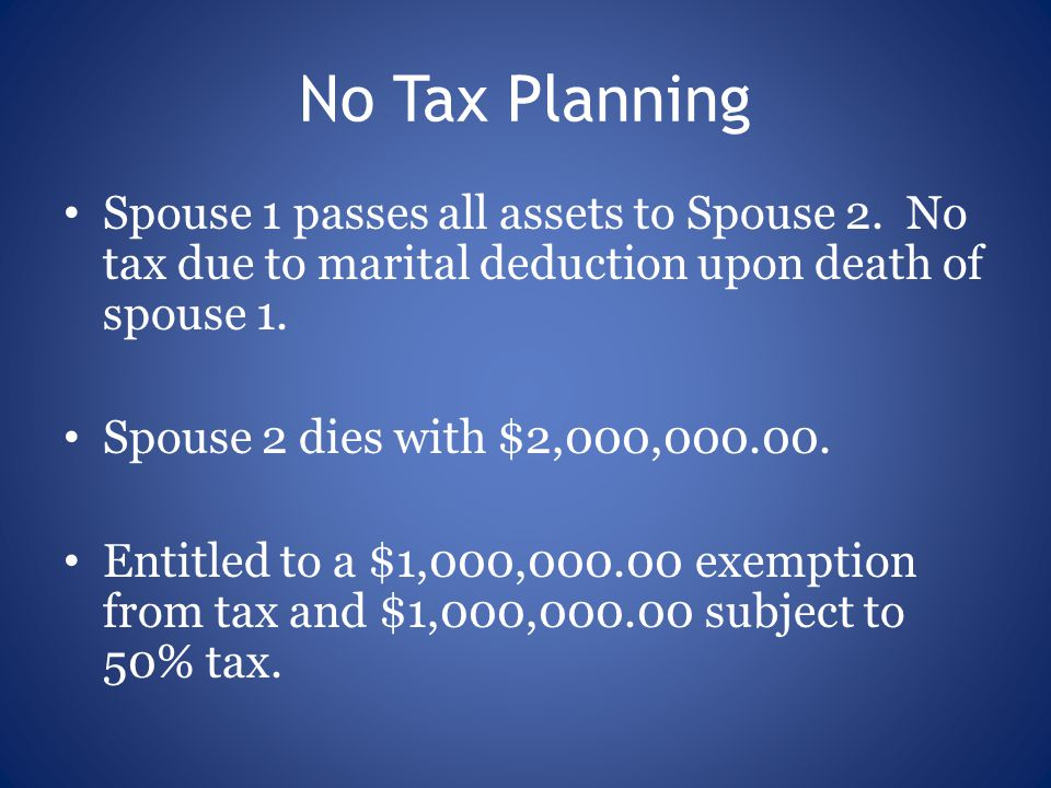 No Tax Planning Spouse 1 passes all assets to Spouse 2.