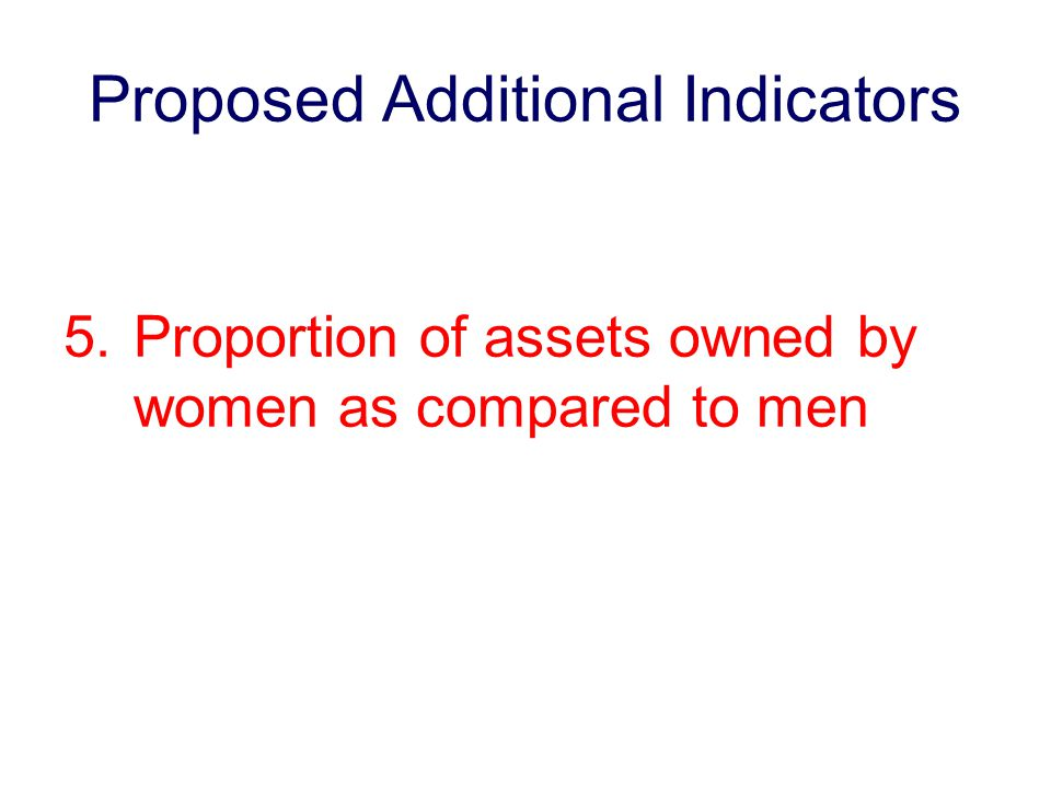 Proposed Additional Indicators 5.Proportion of assets owned by women as compared to men