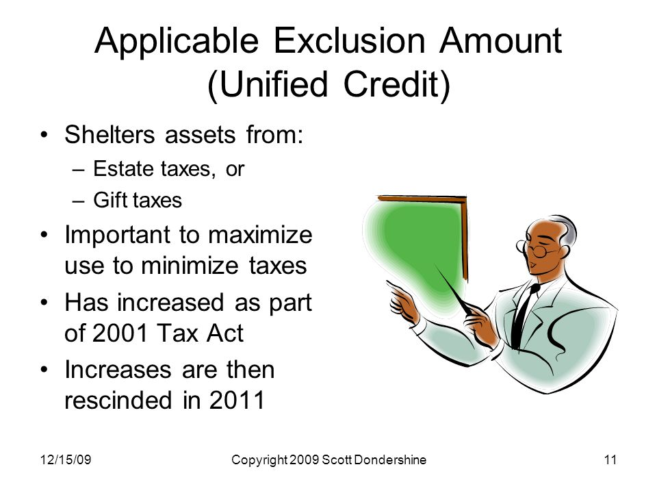 12/15/09Copyright 2009 Scott Dondershine11 Applicable Exclusion Amount (Unified Credit) Shelters assets from: –Estate taxes, or –Gift taxes Important to maximize use to minimize taxes Has increased as part of 2001 Tax Act Increases are then rescinded in 2011