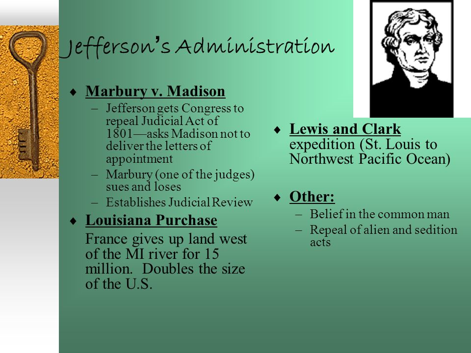 Jefferson ' s Administration  Marbury v. Madison –Jefferson gets Congress to repeal Judicial Act of 1801—asks Madison not to deliver the letters of a