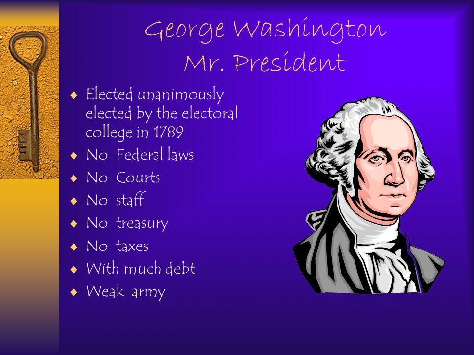 Washington creates a Cabinet  Vice President: John Adams  Secretary of State: Thomas Jefferson  Sec.