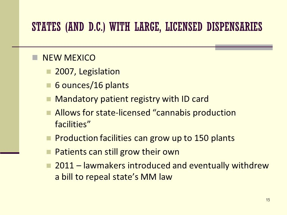 15 STATES (AND D.C.) WITH LARGE, LICENSED DISPENSARIES NEW MEXICO 2007, Legislation 6 ounces/16 plants Mandatory patient registry with ID card Allows for state-licensed cannabis production facilities Production facilities can grow up to 150 plants Patients can still grow their own 2011 – lawmakers introduced and eventually withdrew a bill to repeal state's MM law