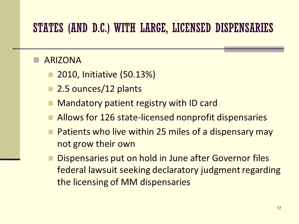 17 STATES (AND D.C.) WITH LARGE, LICENSED DISPENSARIES ARIZONA 2010, Initiative (50.13%) 2.5 ounces/12 plants Mandatory patient registry with ID card Allows for 126 state-licensed nonprofit dispensaries Patients who live within 25 miles of a dispensary may not grow their own Dispensaries put on hold in June after Governor files federal lawsuit seeking declaratory judgment regarding the licensing of MM dispensaries