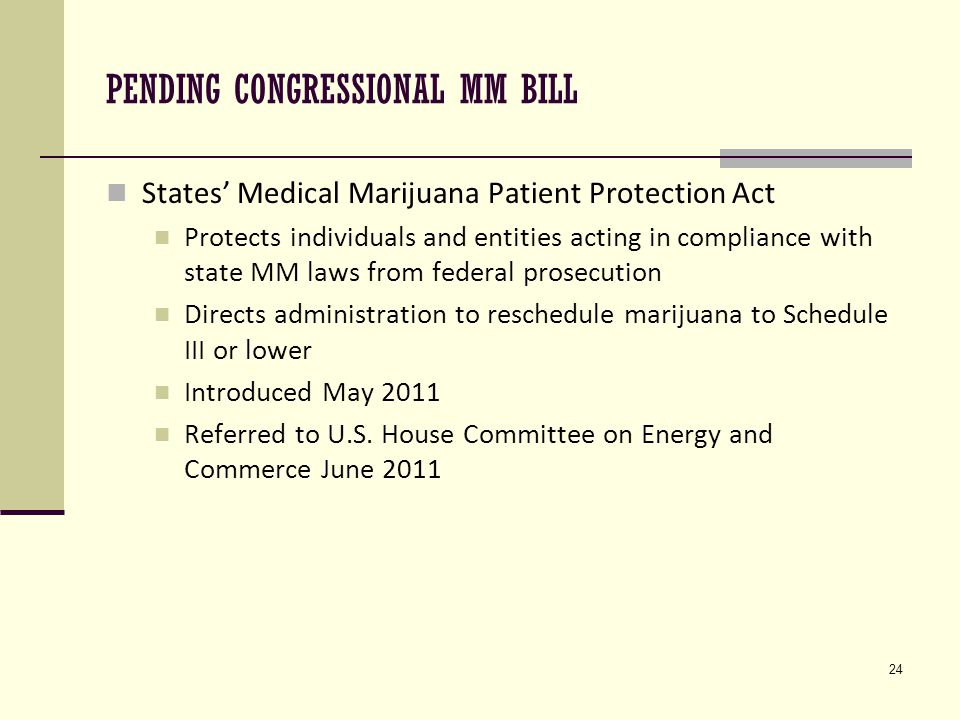 24 PENDING CONGRESSIONAL MM BILL States' Medical Marijuana Patient Protection Act Protects individuals and entities acting in compliance with state MM laws from federal prosecution Directs administration to reschedule marijuana to Schedule III or lower Introduced May 2011 Referred to U.S.