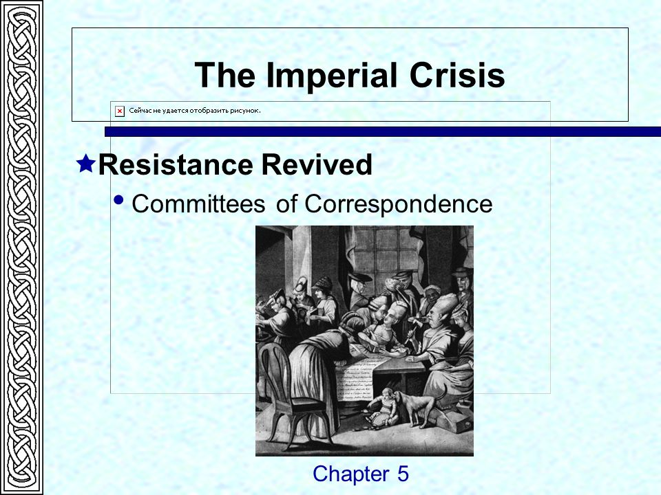 The Imperial Crisis  Resistance Revived  Committees of Correspondence Chapter 5
