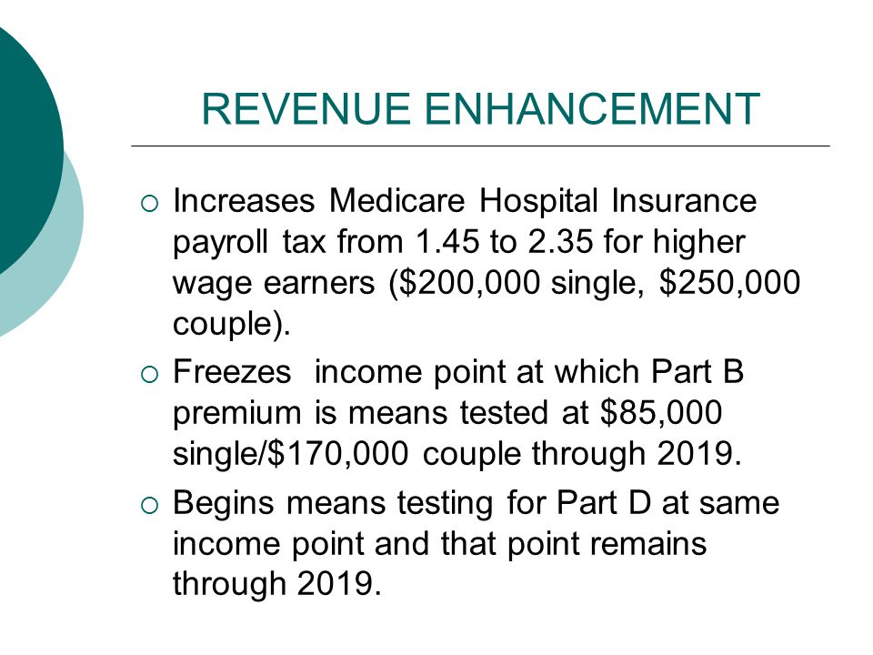 REVENUE ENHANCEMENT  Increases Medicare Hospital Insurance payroll tax from 1.45 to 2.35 for higher wage earners ($200,000 single, $250,000 couple).