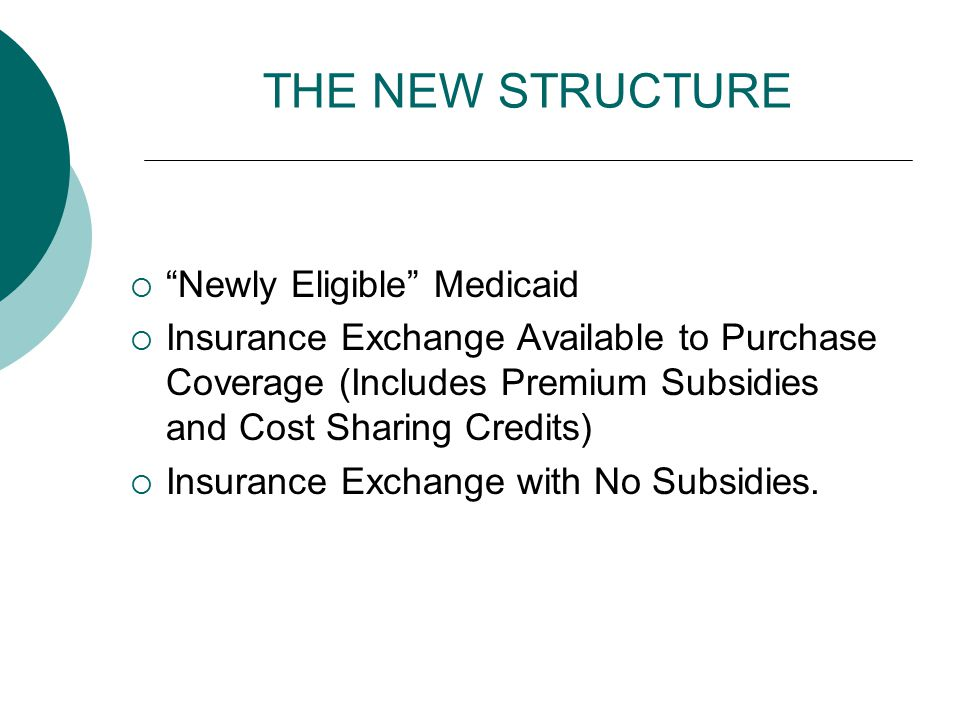"THE NEW STRUCTURE  ""Newly Eligible"" Medicaid  Insurance Exchange Available to Purchase Coverage (Includes Premium Subsidies and Cost Sharing Credits"
