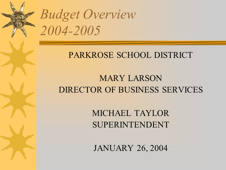 State Funding Review  Legislature appropriated $5.2 billion for K- 12 schools for 2003-2005 with another $100 million possible if revenue targets are met  Parkrose's budget is based on $5.05 billion for 03-04 (plus I-tax dollars)  I-tax will be reduced if state funding exceeds $4.8 billion