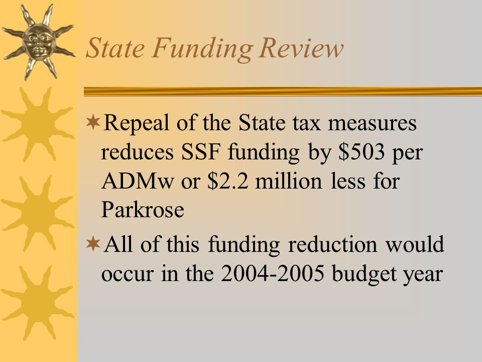State Funding Review  Repeal of the State tax measures reduces SSF funding by $503 per ADMw or $2.2 million less for Parkrose  All of this funding r