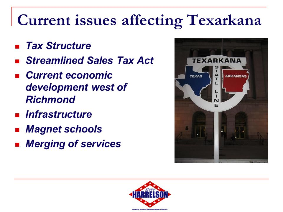 Current issues affecting Texarkana Tax Structure Streamlined Sales Tax Act Current economic development west of Richmond Infrastructure Magnet schools Merging of services