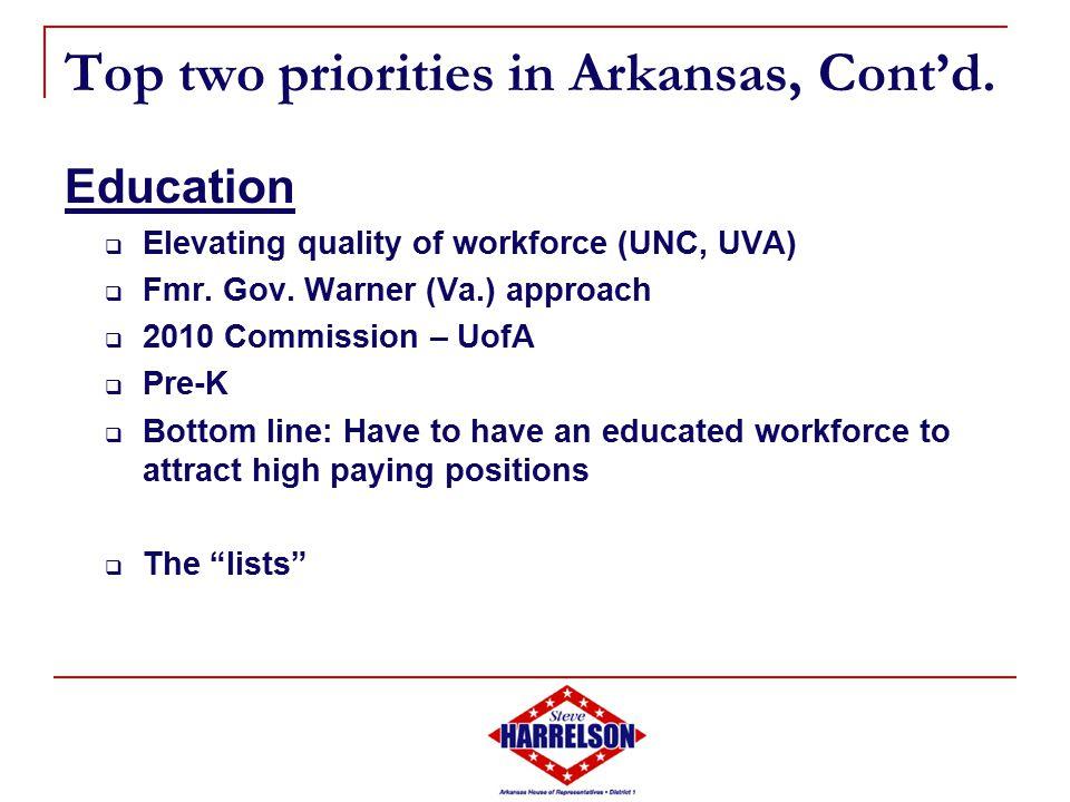 Top two priorities in Arkansas, Cont'd.
