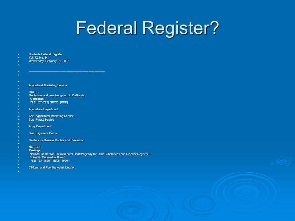 Federal Register. Contents Federal Register  Vol.