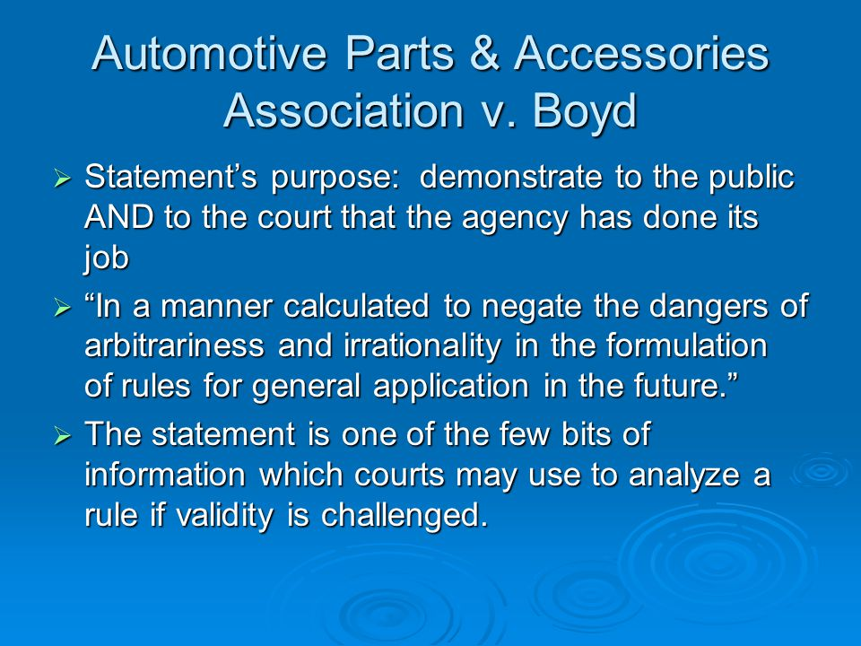 Automotive Parts & Accessories Association v.