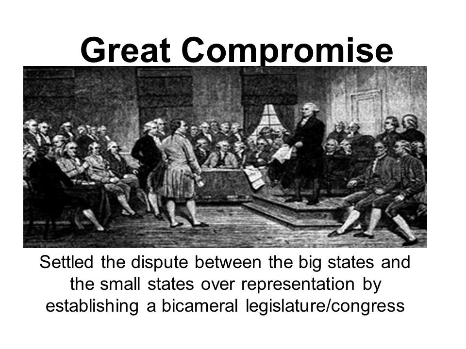 Great Compromise Settled the dispute between the big states and the small states over representation by establishing a bicameral legislature/congress