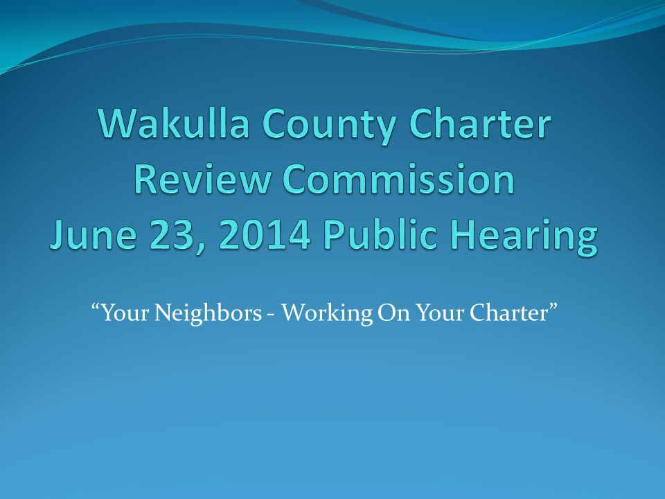 Your Neighbors - Working On Your Charter
