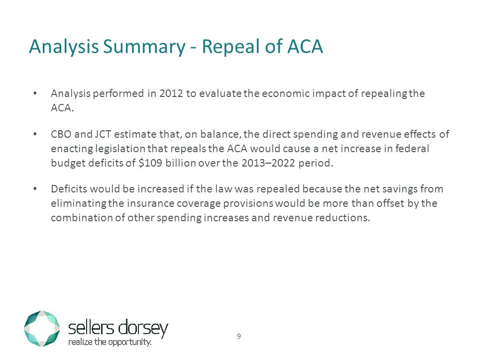 Analysis performed in 2012 to evaluate the economic impact of repealing the ACA.