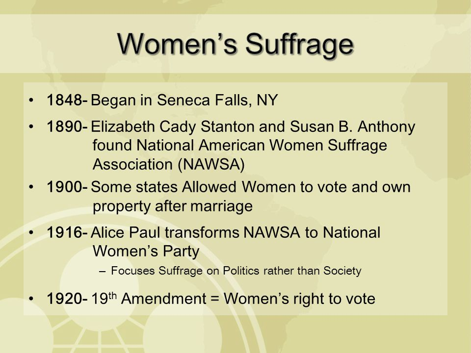 WOMEN'S SUFFRAGE & PROGRESSIVISM