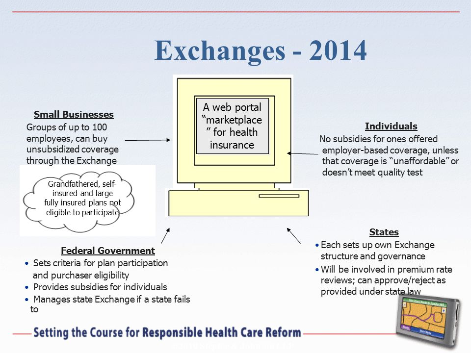 "©2010 Steptoe & Johnson LLP Exchanges - 2014 A web portal ""marketplace "" for health insurance Federal Government Sets criteria for plan participation"