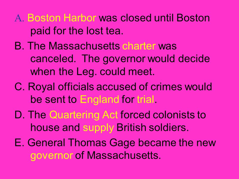 A. Boston Harbor was closed until Boston paid for the lost tea.