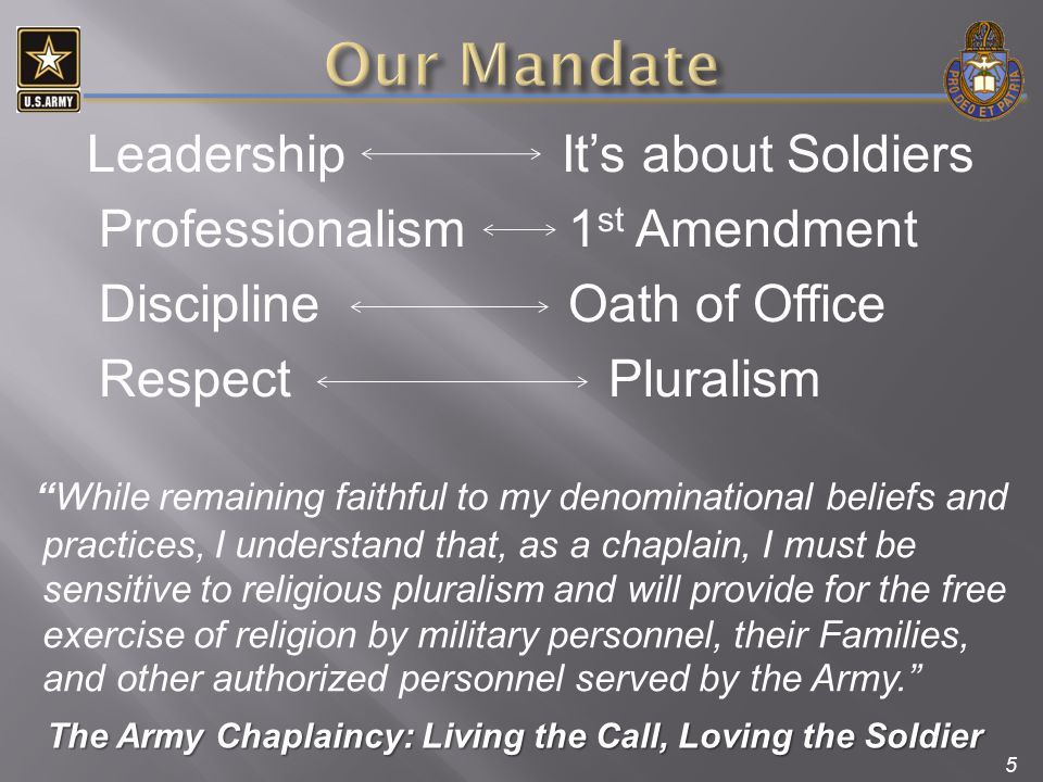5 Leadership It's about Soldiers Professionalism 1 st Amendment Discipline Oath of Office Respect Pluralism The Army Chaplaincy: Living the Call, Lovi