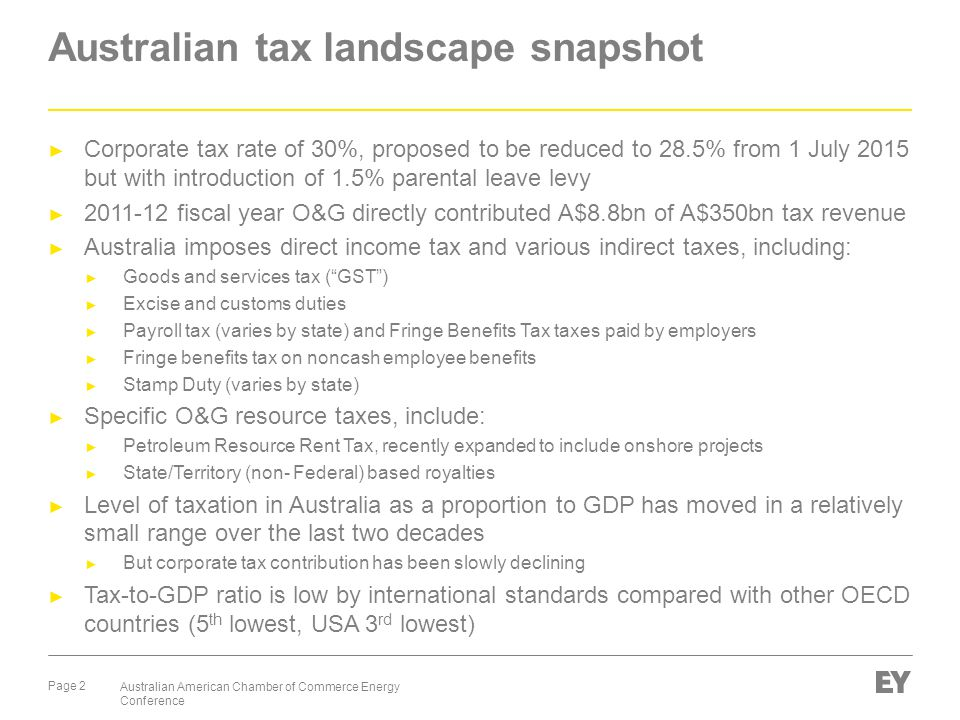 Page 2 Australian American Chamber of Commerce Energy Conference Australian tax landscape snapshot ► Corporate tax rate of 30%, proposed to be reduced to 28.5% from 1 July 2015 but with introduction of 1.5% parental leave levy ► 2011-12 fiscal year O&G directly contributed A$8.8bn of A$350bn tax revenue ► Australia imposes direct income tax and various indirect taxes, including: ► Goods and services tax ( GST ) ► Excise and customs duties ► Payroll tax (varies by state) and Fringe Benefits Tax taxes paid by employers ► Fringe benefits tax on noncash employee benefits ► Stamp Duty (varies by state) ► Specific O&G resource taxes, include: ► Petroleum Resource Rent Tax, recently expanded to include onshore projects ► State/Territory (non- Federal) based royalties ► Level of taxation in Australia as a proportion to GDP has moved in a relatively small range over the last two decades ► But corporate tax contribution has been slowly declining ► Tax-to-GDP ratio is low by international standards compared with other OECD countries (5 th lowest, USA 3 rd lowest)