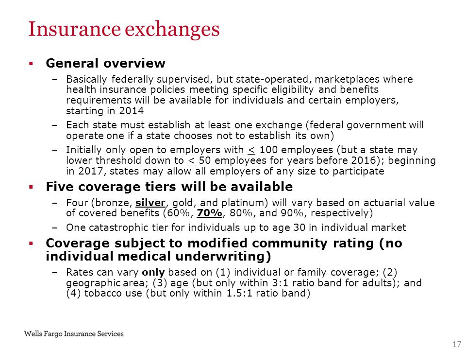 Insurance exchanges  General overview –Basically federally supervised, but state-operated, marketplaces where health insurance policies meeting speci
