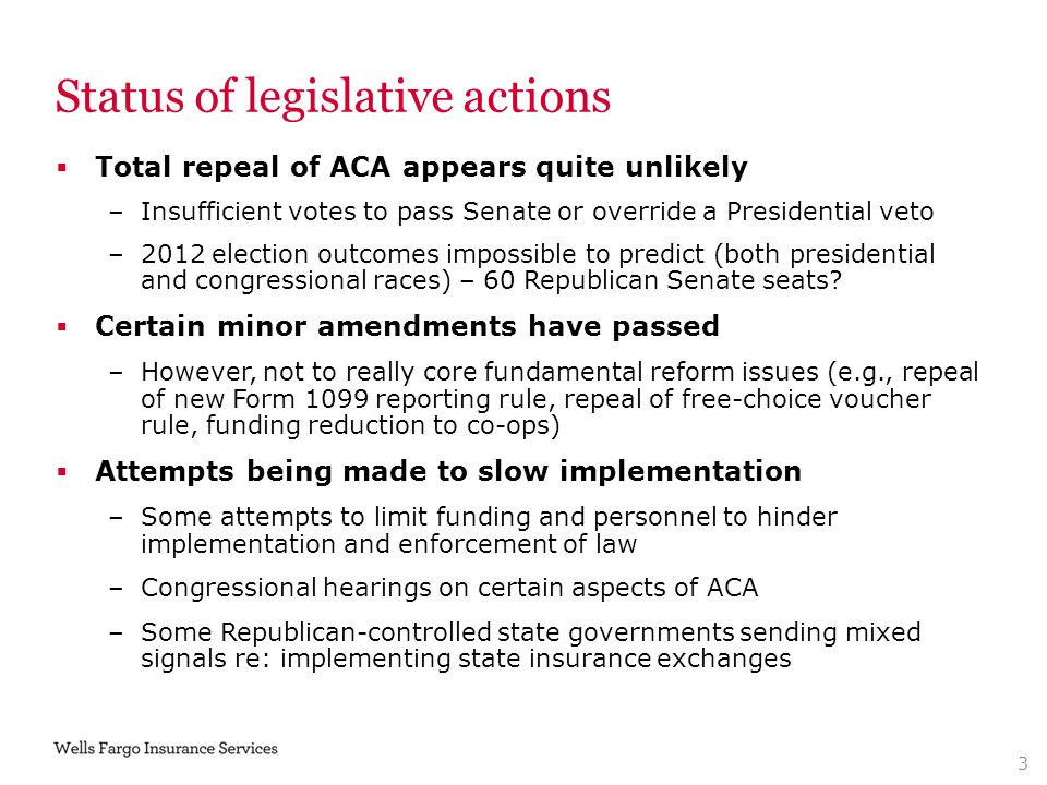 Status of legislative actions  Total repeal of ACA appears quite unlikely –Insufficient votes to pass Senate or override a Presidential veto –2012 el