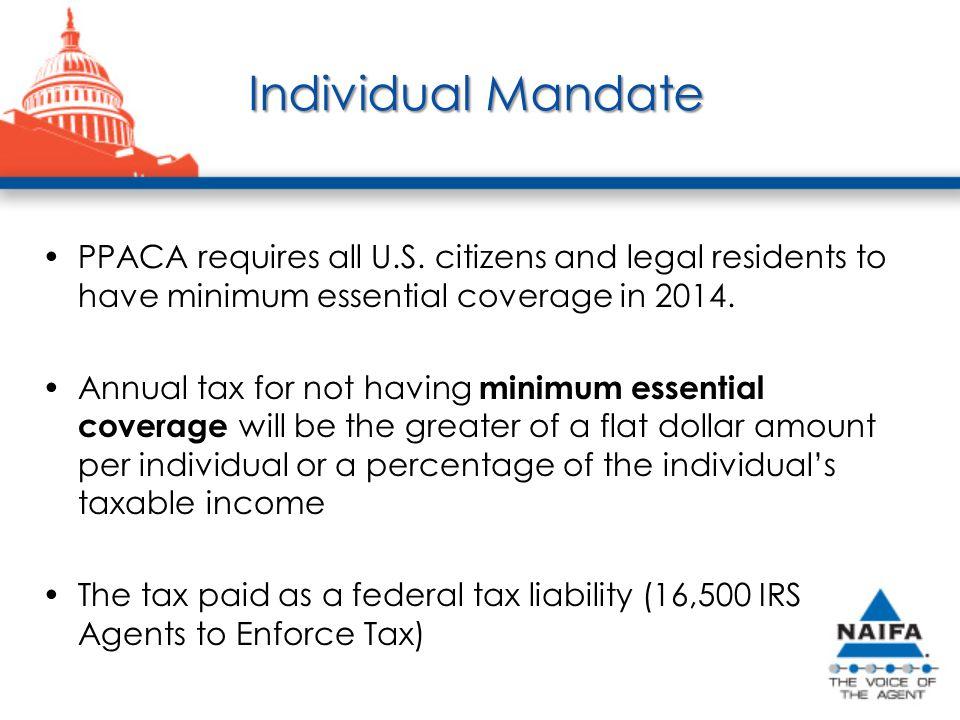 Individual Mandate PPACA requires all U.S.
