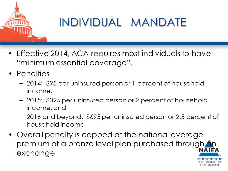 INDIVIDUAL MANDATE Effective 2014, ACA requires most individuals to have minimum essential coverage .