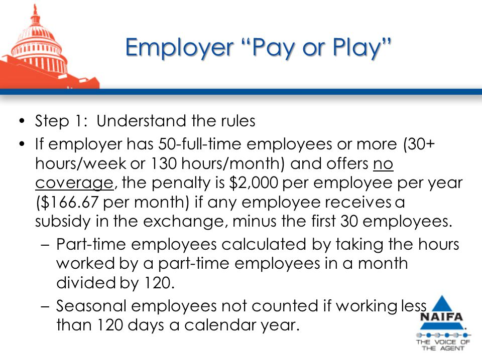 Employer Pay or Play Step 1: Understand the rules If employer has 50-full-time employees or more (30+ hours/week or 130 hours/month) and offers no coverage, the penalty is $2,000 per employee per year ($166.67 per month) if any employee receives a subsidy in the exchange, minus the first 30 employees.