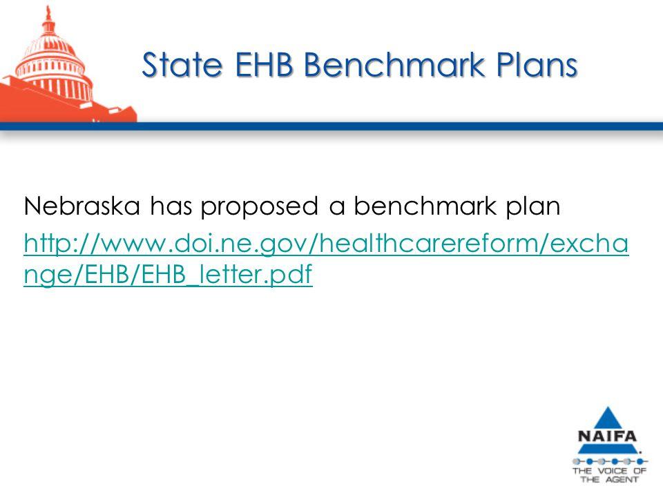 State EHB Benchmark Plans State EHB Benchmark Plans Nebraska has proposed a benchmark plan http://www.doi.ne.gov/healthcarereform/excha nge/EHB/EHB_letter.pdf