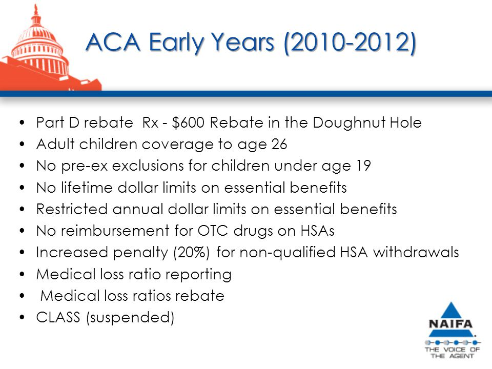 ACA Early Years (2010-2012) Part D rebate Rx - $600 Rebate in the Doughnut Hole Adult children coverage to age 26 No pre-ex exclusions for children under age 19 No lifetime dollar limits on essential benefits Restricted annual dollar limits on essential benefits No reimbursement for OTC drugs on HSAs Increased penalty (20%) for non-qualified HSA withdrawals Medical loss ratio reporting Medical loss ratios rebate CLASS (suspended)