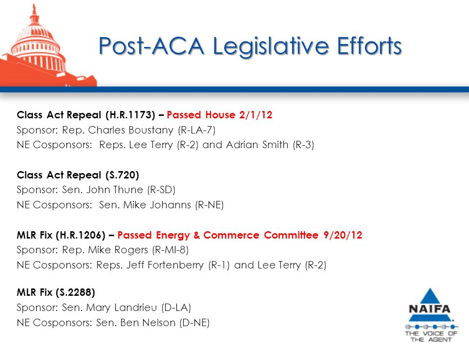 Post-ACA Legislative Efforts Class Act Repeal (H.R.1173) – Passed House 2/1/12 Sponsor: Rep.