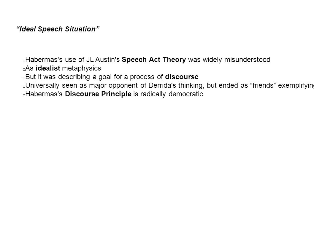 Ideal Speech Situation Habermas s use of JL Austin s Speech Act Theory was widely misunderstood As idealist metaphysics But it was describing a goal for a process of discourse Universally seen as major opponent of Derrida s thinking, but ended as friends exemplifying democratic discourse on the issue of world politics Habermas s Discourse Principle is radically democratic