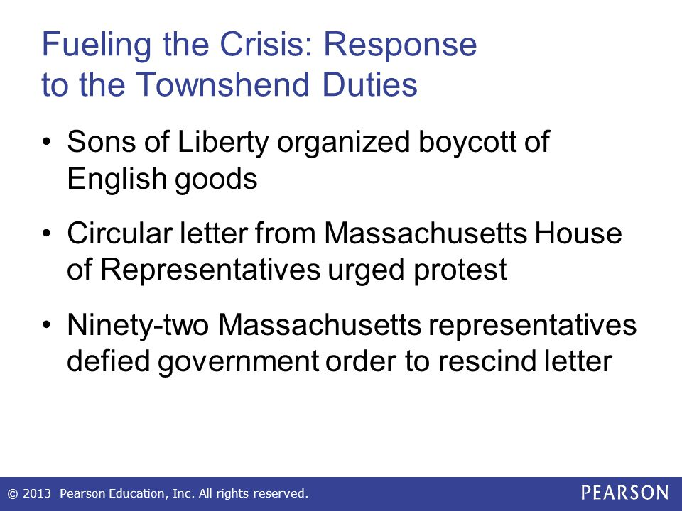 Fueling the Crisis: Response to the Townshend Duties Sons of Liberty organized boycott of English goods Circular letter from Massachusetts House of Re