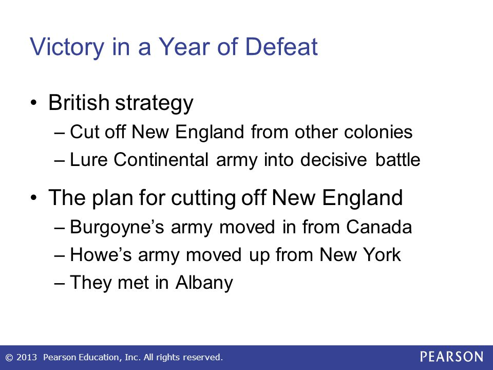 Victory in a Year of Defeat British strategy –Cut off New England from other colonies –Lure Continental army into decisive battle The plan for cutting