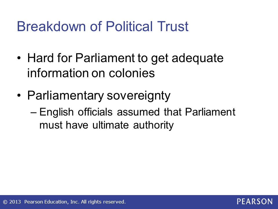 Breakdown of Political Trust Hard for Parliament to get adequate information on colonies Parliamentary sovereignty –English officials assumed that Par