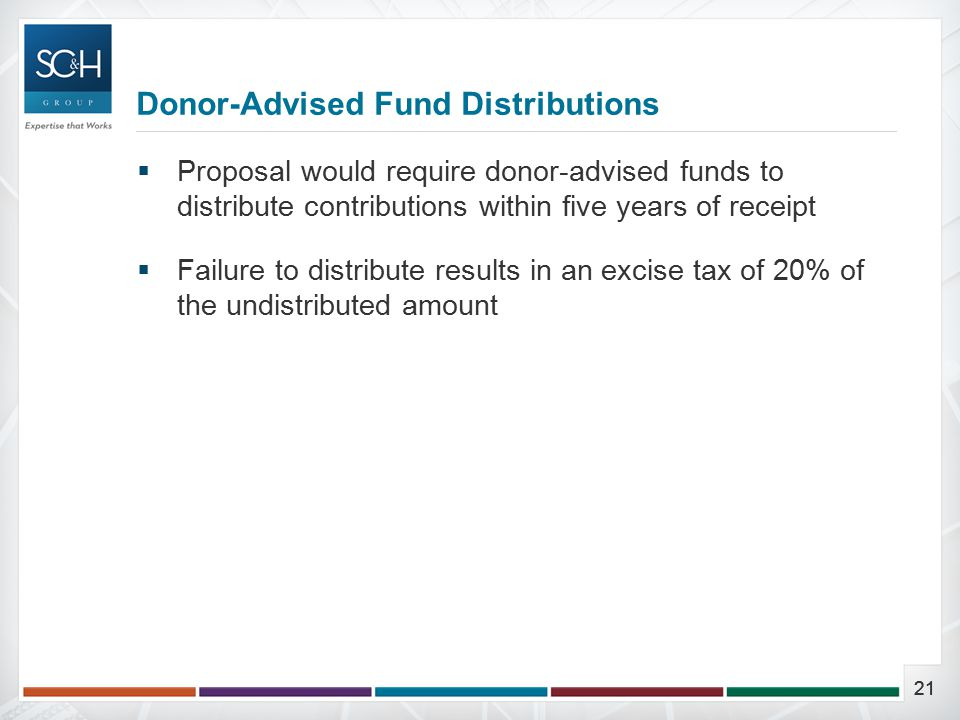 21  Proposal would require donor-advised funds to distribute contributions within five years of receipt  Failure to distribute results in an excise tax of 20% of the undistributed amount Donor-Advised Fund Distributions