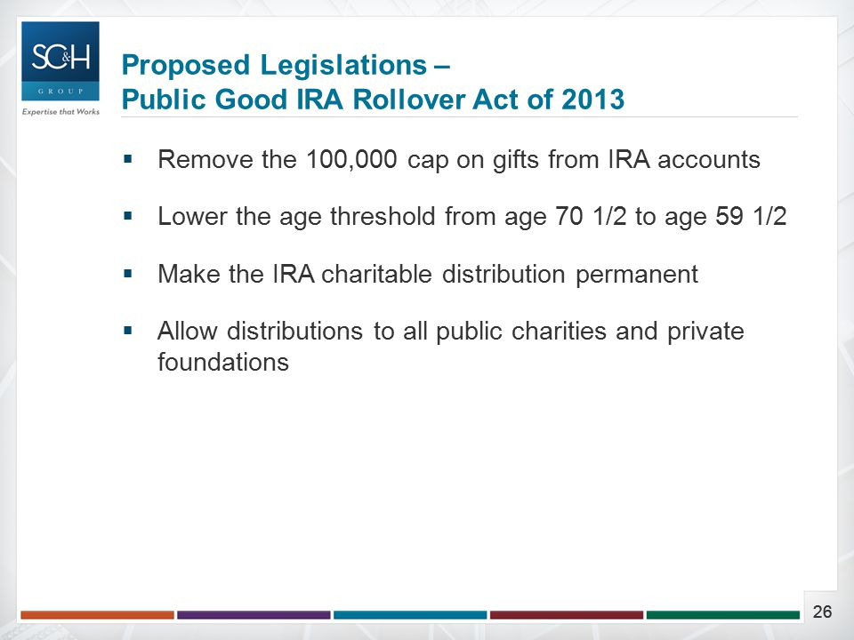 26  Remove the 100,000 cap on gifts from IRA accounts  Lower the age threshold from age 70 1/2 to age 59 1/2  Make the IRA charitable distribution permanent  Allow distributions to all public charities and private foundations Proposed Legislations – Public Good IRA Rollover Act of 2013