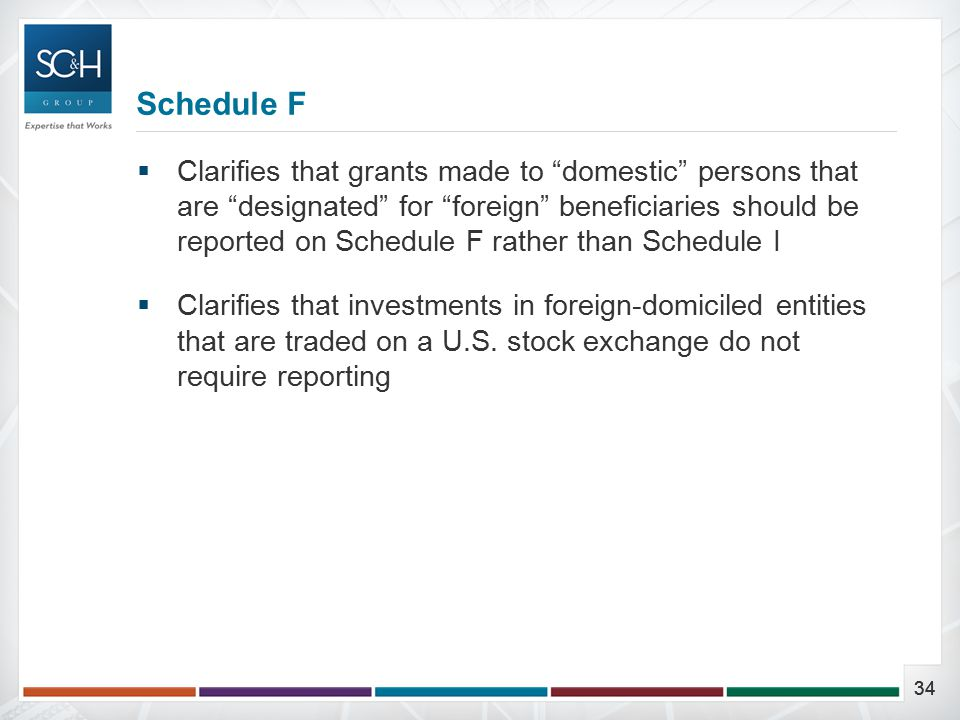 34  Clarifies that grants made to domestic persons that are designated for foreign beneficiaries should be reported on Schedule F rather than Schedule I  Clarifies that investments in foreign-domiciled entities that are traded on a U.S.